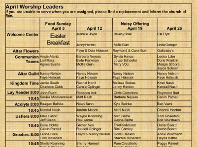 serving schedule