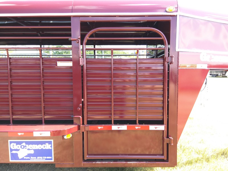 A Full escape door on a steel trailer. A lot of people would like to haul the horse at the front or be able to put the generator, etc in the trailer if going to a stock show. We can fix you up with a full escape door.