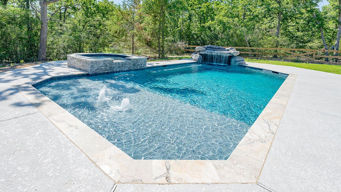 Awesome Our Pool Construction Can Customize Your Pool Exactly How You Like It. For  Example, This Geometric Pool Has A Grotto And A Spa, In Addition To  Multiple ...